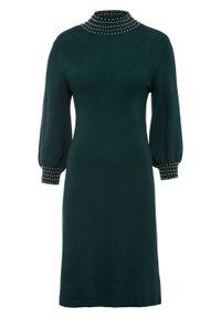 Zielona sukienka bonprix z aplikacjami