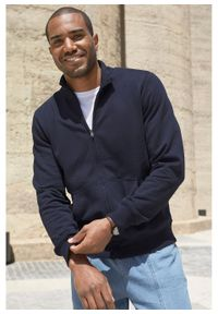 Bluza rozpinana ze stójką bonprix ciemnoniebieski. Typ kołnierza: kołnierzyk stójkowy. Kolor: niebieski. Styl: sportowy