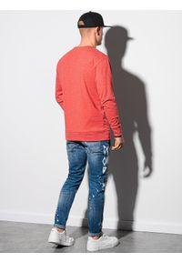 Ombre Clothing - Bluza męska bez kaptura B1149 - czerwona - XXL. Typ kołnierza: bez kaptura. Kolor: czerwony. Materiał: poliester, jeans, materiał, bawełna. Wzór: melanż