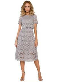 Szara sukienka wizytowa MOE z krótkim rękawem, midi