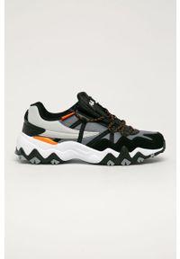 Czarne sneakersy Fila z okrągłym noskiem, na sznurówki, z cholewką