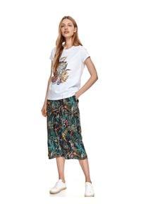 DRYWASH - T-shirt damski z egzotycznym nadrukiem. Kolor: biały. Wzór: nadruk