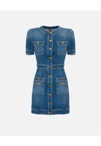 Elisabetta Franchi - ELISABETTA FRANCHI - Jeansowa mini sukienka z kieszeniami. Kolor: niebieski. Materiał: jeans. Typ sukienki: dopasowane. Długość: mini