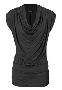 Długi shirt bonprix czarny. Typ kołnierza: dekolt woda. Kolor: czarny. Długość: długie. Styl: elegancki