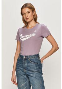 Fioletowa bluzka Converse z nadrukiem, casualowa