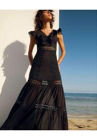 CHARO RUIZ IBIZA - Czarna sukienka maxi Aida. Kolor: czarny. Materiał: bawełna, koronka. Wzór: koronka. Długość: maxi