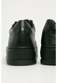 Czarne buty sportowe vagabond na obcasie, z okrągłym noskiem