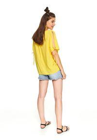Żółta bluzka TOP SECRET z aplikacjami, elegancka, z okrągłym kołnierzem, na co dzień