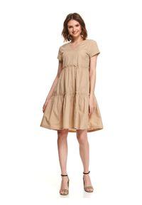 Beżowa sukienka TOP SECRET casualowa, mini, z dekoltem w serek, na lato