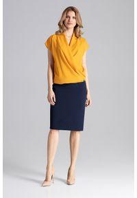 Figl - Musztardowa Kopertowa Bluzka z Opadającym Rękawem. Kolor: żółty. Materiał: elastan, poliester
