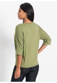 """Shirt """"nietoperz"""" z zamkiem bonprix zielony lodenowy. Kolor: zielony"""