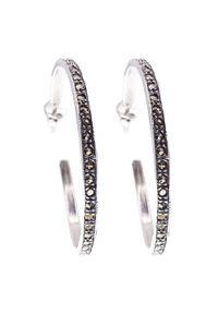 Braccatta - FELIZ Kolczyki srebrne koła średnie markazyty. Materiał: srebrne. Kolor: srebrny. Wzór: aplikacja. Kamień szlachetny: markazyt
