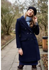 Marie Zélie - Płaszcz wełniany Debora granatowy – flausz. Kolor: niebieski. Materiał: wełna. Wzór: motyw zwierzęcy. Sezon: zima. Styl: klasyczny #4