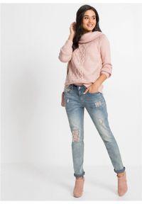 Różowy sweter bonprix melanż, z kołnierzem typu carmen