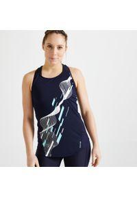 DOMYOS - Top fitness Domyos 120. Kolor: niebieski. Materiał: poliester, elastan, materiał. Długość rękawa: na ramiączkach. Długość: długie. Sport: fitness