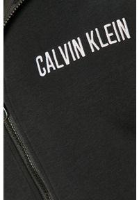 Czarna bluza rozpinana Calvin Klein Performance z aplikacjami, z kapturem