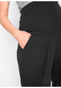 Spodnie ciążowe haremki bonprix czarny. Kolekcja: moda ciążowa. Kolor: czarny. Materiał: materiał