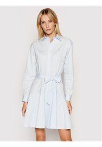 Polo Ralph Lauren Sukienka koszulowa Lsl 211838048001 Niebieski Regular Fit. Typ kołnierza: polo. Kolor: niebieski. Typ sukienki: koszulowe
