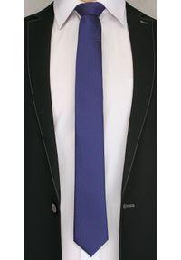 Ciemny Niebieski Elegancki Krawat -Angelo di Monti- 6 cm, Męski, w Czerwony Drobny Wzór. Kolor: niebieski, czerwony, wielokolorowy. Styl: elegancki