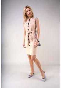 Nommo - Letnia Sukienka w Stylu Safari - Ciemno Beżowa. Kolor: beżowy. Materiał: wiskoza, poliester. Sezon: lato