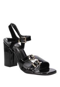 Czarne sandały S.Barski na co dzień, na lato, w kolorowe wzory, casualowe