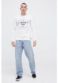 Tom Tailor - Longsleeve bawełniany. Kolor: beżowy. Materiał: bawełna. Długość rękawa: długi rękaw. Wzór: nadruk