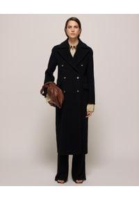 NANUSHKA - Czarny płaszcz dwurzędowy Lana. Okazja: na co dzień. Kolor: czarny. Materiał: jedwab, wełna. Sezon: jesień. Styl: elegancki, klasyczny, casual