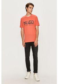 Pomarańczowy t-shirt Hugo z nadrukiem, na co dzień, casualowy