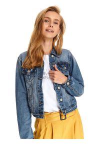 Niebieska kurtka TOP SECRET na wiosnę, w kolorowe wzory
