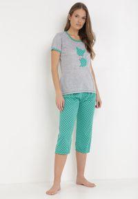 Szaro-Zielony Komplet Piżamowy Sabritea