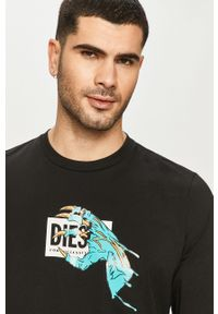 Czarna koszulka z długim rękawem Diesel na co dzień, casualowa, z nadrukiem