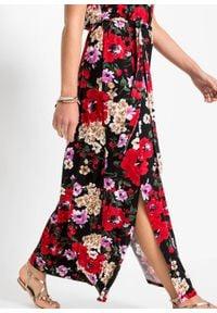 Długa sukienka w kwiaty bonprix czarny w kwiaty. Kolor: czarny. Wzór: kwiaty. Długość: maxi