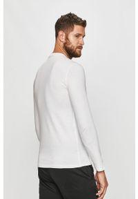 Biała koszulka z długim rękawem Guess Jeans na co dzień, z nadrukiem, casualowa