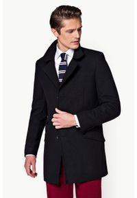 Czarny płaszcz Lancerto klasyczny, na jesień