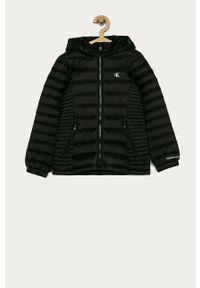 Czarna kurtka Calvin Klein Jeans z kapturem, na co dzień, casualowa