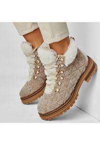 Beżowe buty trekkingowe Stokton z cholewką