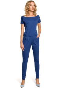 MOE - Jeansowy Kombinezon z Krótkim Rękawem. Materiał: jeans. Długość rękawa: krótki rękaw. Długość: krótkie