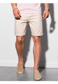 Ombre Clothing - Krótkie spodenki męskie casual W303 - jasnobeżowe - XXL. Okazja: na co dzień. Kolor: beżowy. Materiał: tkanina, bawełna, elastan. Długość: krótkie. Sezon: lato. Styl: casual
