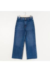 Sinsay - Jeansy wide leg cropped - Granatowy. Kolor: niebieski