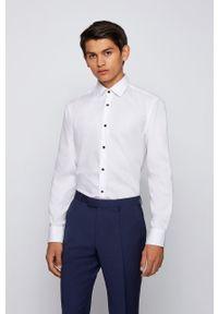 Biała koszula BOSS długa, z włoskim kołnierzykiem