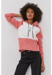 Różowa bluza Femi Stories z klasycznym kołnierzykiem, raglanowy rękaw, casualowa