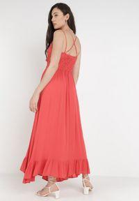 Born2be - Koralowa Sukienka Coridoe. Kolor: pomarańczowy