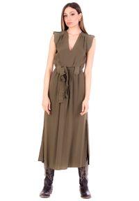 TwinSet - Sukienka MIDI z paskiem Twinset. Typ kołnierza: dekolt w kształcie V. Materiał: bawełna. Styl: klasyczny. Długość: midi