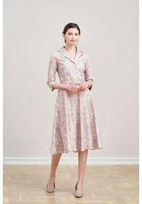 Marie Zélie - Sukienka Indis Pellucida. Materiał: bawełna, satyna, skóra, materiał. Typ sukienki: trapezowe. Styl: vintage