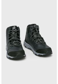 Czarne buty zimowe New Balance z cholewką, z okrągłym noskiem, na sznurówki, na zimę