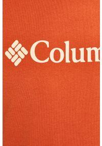 Czerwony t-shirt columbia casualowy, na co dzień, z nadrukiem