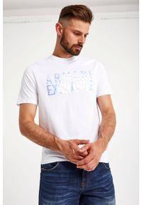 Armani Exchange - T-SHIRT ARMANI EXCHANGE. Materiał: bawełna. Długość rękawa: krótki rękaw. Długość: krótkie. Wzór: napisy