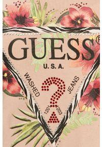 Różowa bluzka Guess z nadrukiem, na co dzień