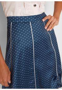 Spódnica w ludowym stylu z nadrukiem bonprix ciemnoniebieski wzorzysty. Kolor: niebieski. Materiał: koronka. Wzór: nadruk