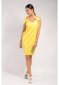 Nommo - Żółta Prosta Koktajlowa Sukienka z Kokardami na Ramionach. Typ kołnierza: kokarda. Kolor: żółty. Materiał: wiskoza, poliester. Typ sukienki: proste. Styl: wizytowy